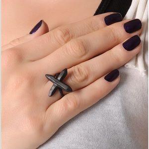 LUV AJ | SILVER Crystal Cross Ring